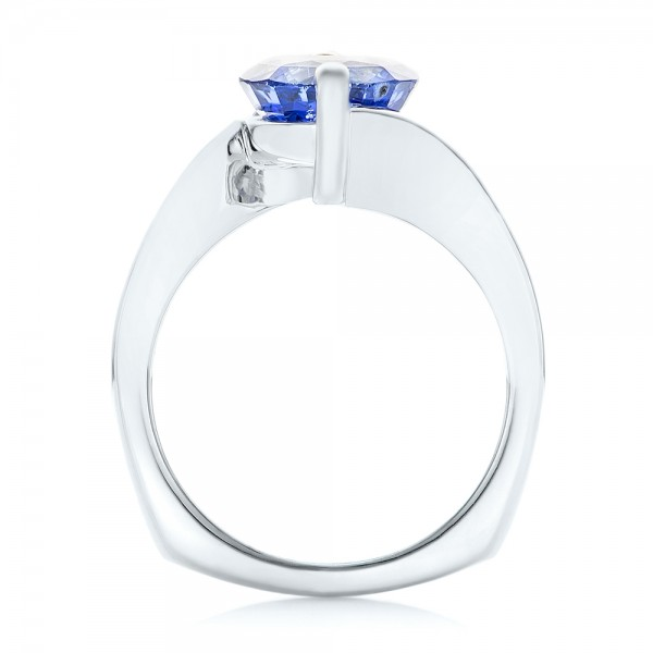 Custom Solitaire Blue Sapphire Engagement Ring - Finger Through View
