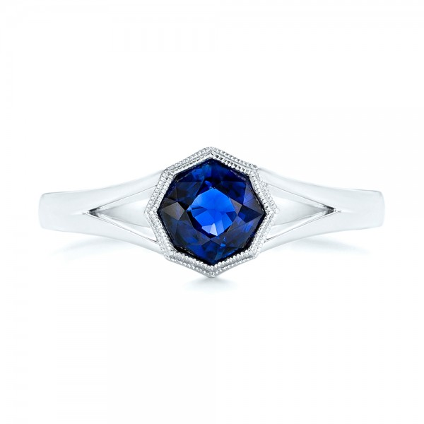 Custom Solitaire Blue Sapphire Engagement Ring - Top View