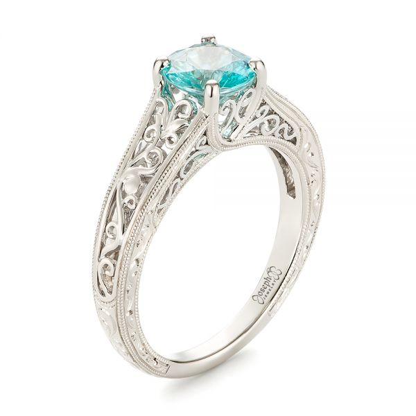 Custom Solitaire Blue Zircon Engagement Ring
