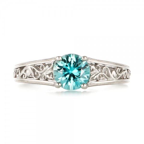 Custom Solitaire Blue Zircon Engagement Ring - Top View