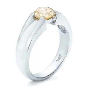 Custom Solitaire Champagne Diamond Engagement Ring - Image