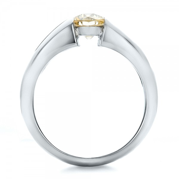 Custom Solitaire Champagne Diamond Engagement Ring - Finger Through View
