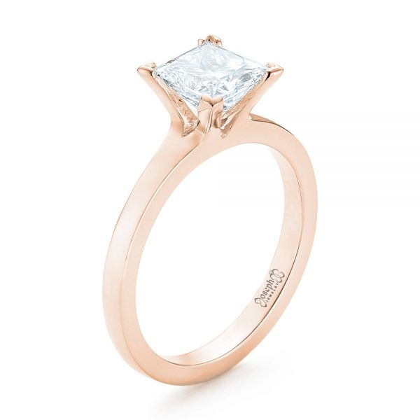 14k Rose Gold 14k Rose Gold Custom Solitaire Diamond Engagement Ring - Three-Quarter View -
