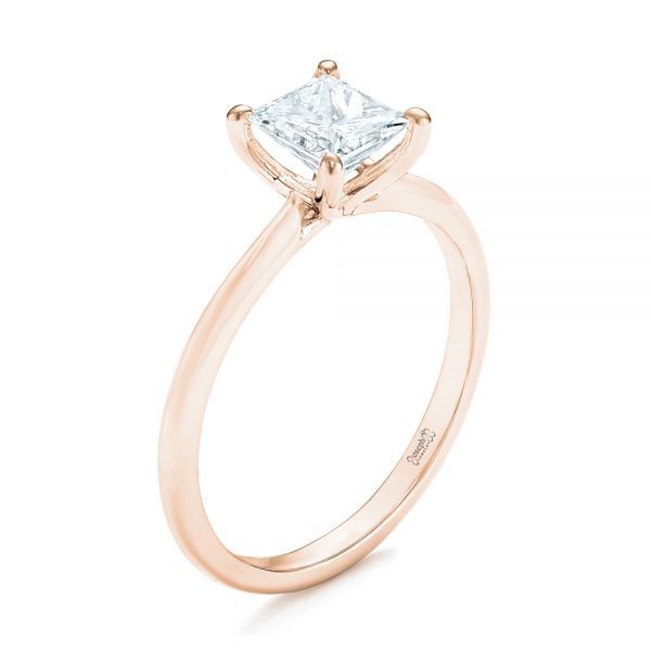 14k Rose Gold 14k Rose Gold Custom Solitaire Diamond Engagement Ring - Three-Quarter View -  103096