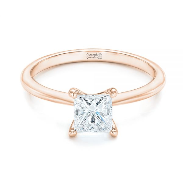 14k Rose Gold 14k Rose Gold Custom Solitaire Diamond Engagement Ring - Flat View -  103096