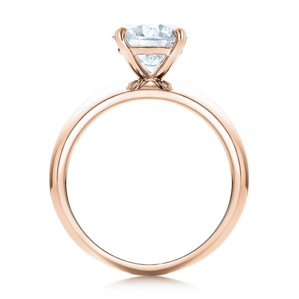 14k Rose Gold 14k Rose Gold Custom Solitaire Diamond Engagement Ring - Front View -