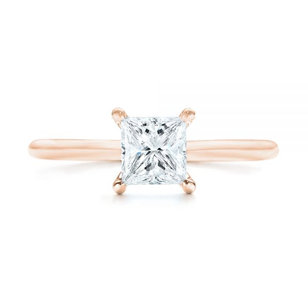 14k Rose Gold 14k Rose Gold Custom Solitaire Diamond Engagement Ring - Top View -  103096