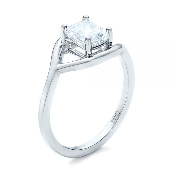 Platinum Custom Solitaire Diamond Engagement Ring - Three-Quarter View -