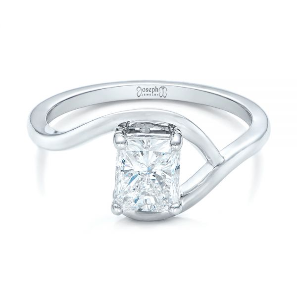 Platinum Custom Solitaire Diamond Engagement Ring - Flat View -
