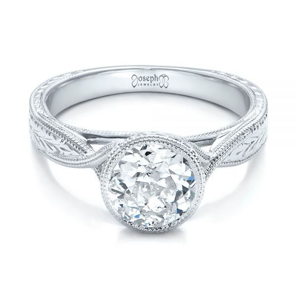 18k White Gold Custom Solitaire Diamond Engagement Ring - Flat View -