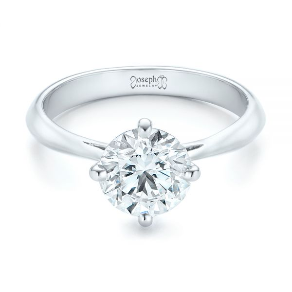 Custom Solitaire Diamond Engagement Ring - Flat View -  102600 - Thumbnail