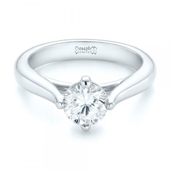 Custom Solitaire Diamond Engagement Ring - Flat View -  102954 - Thumbnail