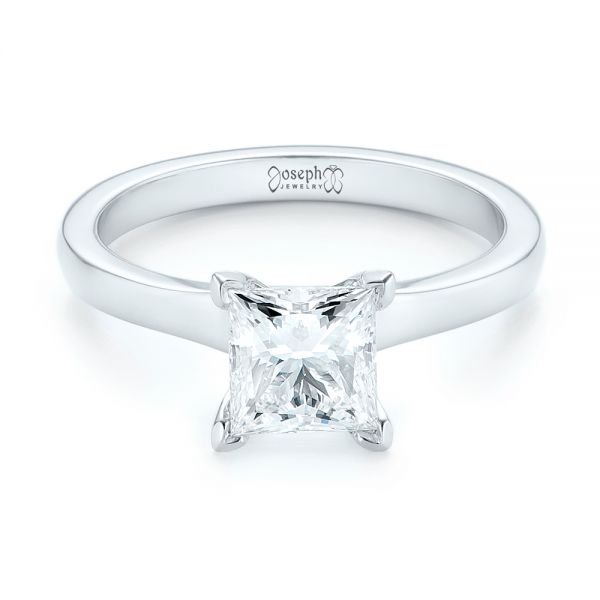 Platinum Platinum Custom Solitaire Diamond Engagement Ring - Flat View -