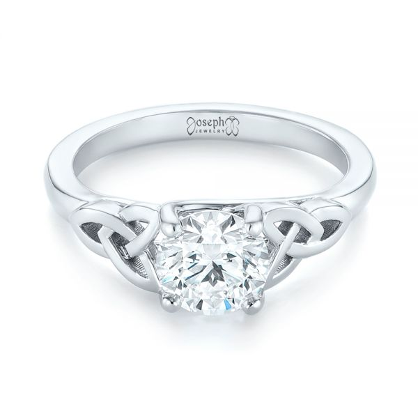 14k White Gold Custom Solitaire Diamond Engagement Ring - Flat View -