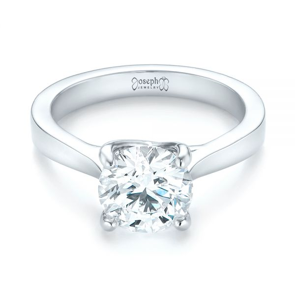 Custom Solitaire Diamond Engagement Ring - Flat View -  103356 - Thumbnail