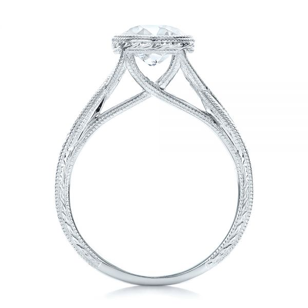 18k White Gold Custom Solitaire Diamond Engagement Ring - Front View -