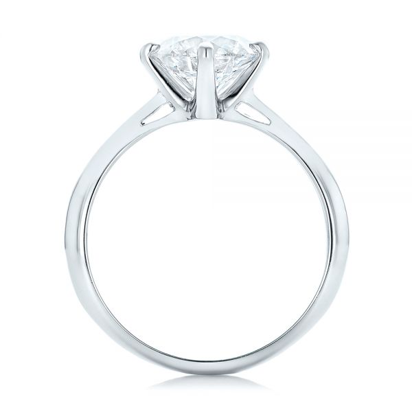 Platinum Custom Solitaire Diamond Engagement Ring - Front View -