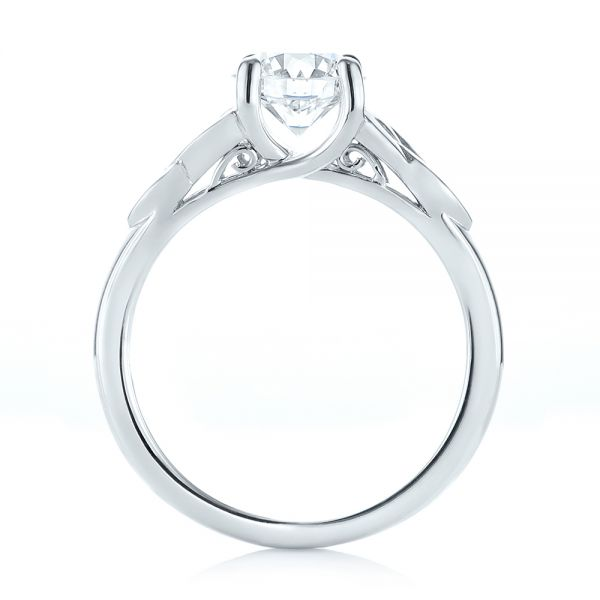 14k White Gold Custom Solitaire Diamond Engagement Ring - Front View -