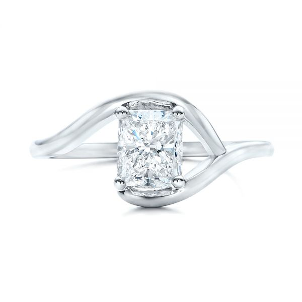 Platinum Custom Solitaire Diamond Engagement Ring - Top View -