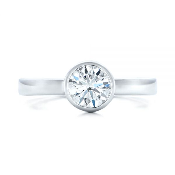 Custom Solitaire Diamond Engagement Ring - Top View -  102029 - Thumbnail