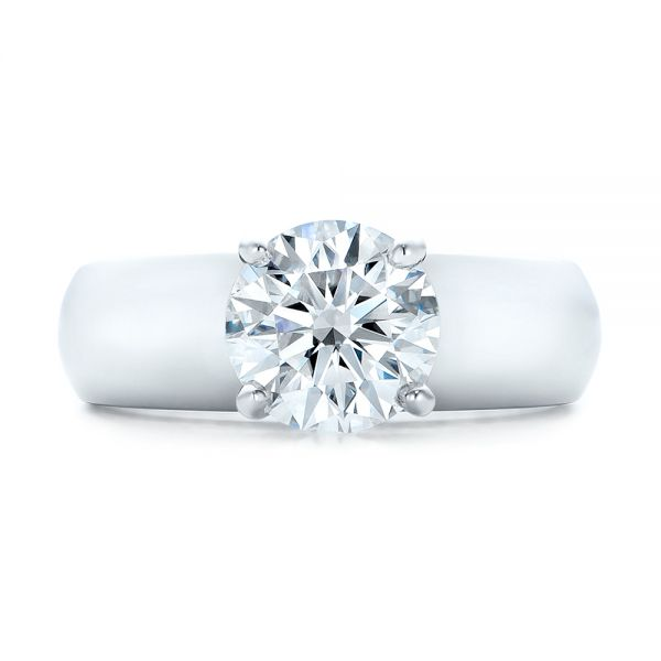 Custom Solitaire Diamond Engagement Ring - Top View -  102030 - Thumbnail