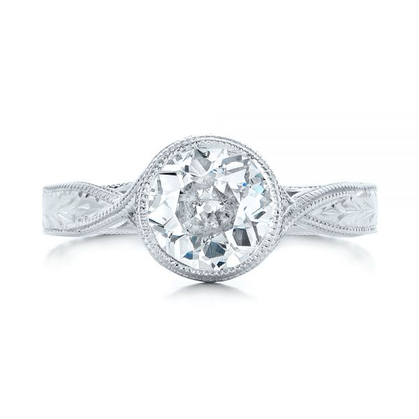 18k White Gold Custom Solitaire Diamond Engagement Ring - Top View -