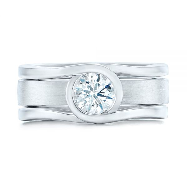 14k White Gold Custom Solitaire Diamond Engagement Ring - Top View -