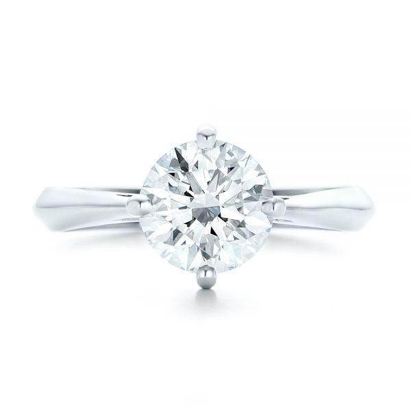 Custom Solitaire Diamond Engagement Ring - Top View -  102600 - Thumbnail