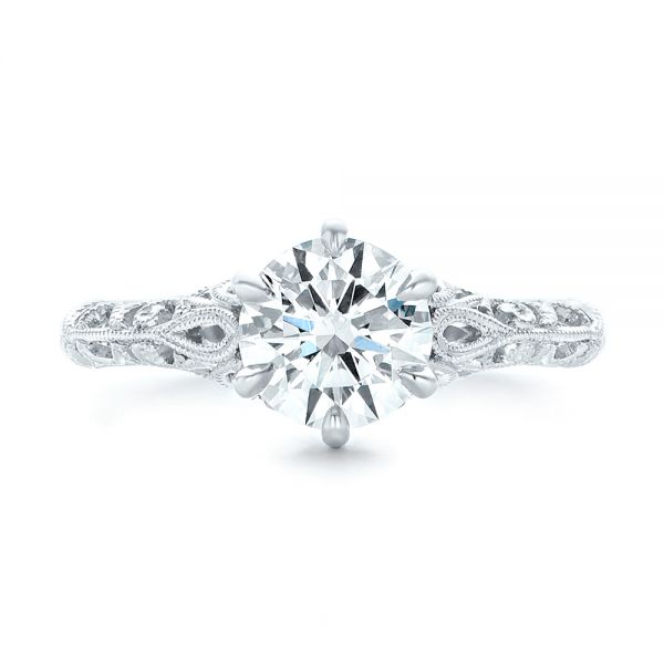 Custom Solitaire Diamond Engagement Ring - Top View -  102952 - Thumbnail