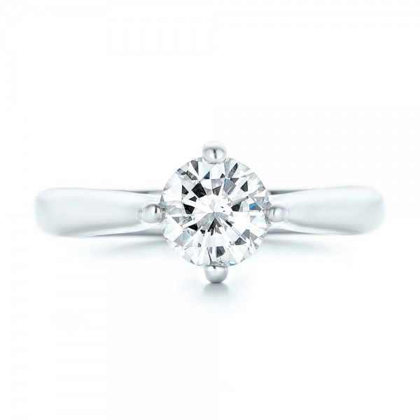 Custom Solitaire Diamond Engagement Ring - Top View -  102954 - Thumbnail