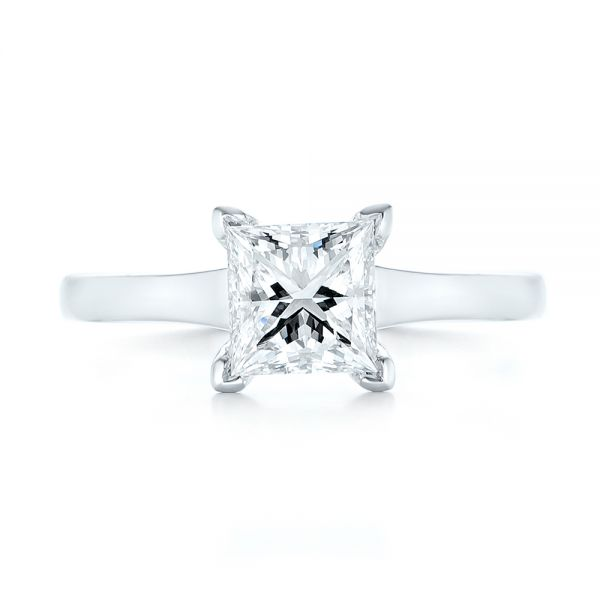 Platinum Platinum Custom Solitaire Diamond Engagement Ring - Top View -