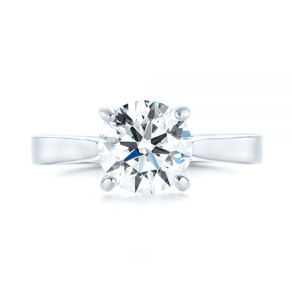 Custom Solitaire Diamond Engagement Ring - Top View -  103356 - Thumbnail