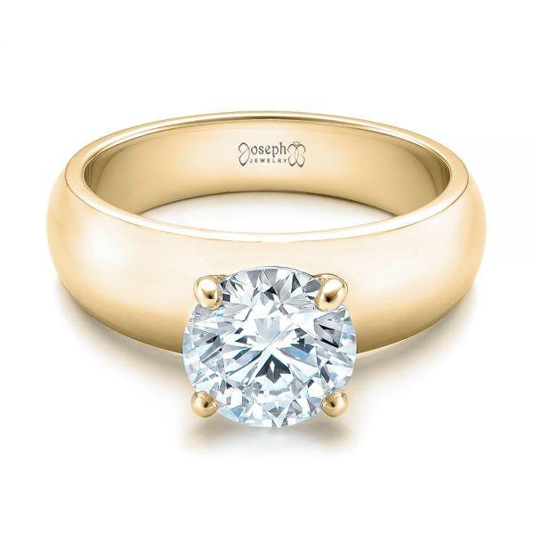 14K Yellow Gold Custom Solitaire Diamond Engagement Ring - Flat View -  102030 - Thumbnail