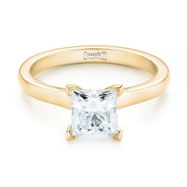 18k Yellow Gold 18k Yellow Gold Custom Solitaire Diamond Engagement Ring - Flat View -