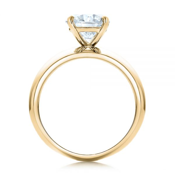 14K Yellow Gold Custom Solitaire Diamond Engagement Ring - Front View -  102030 - Thumbnail