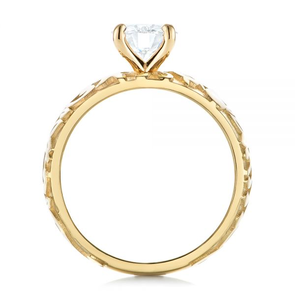 14k Yellow Gold Custom Solitaire Diamond Engagement Ring - Front View -
