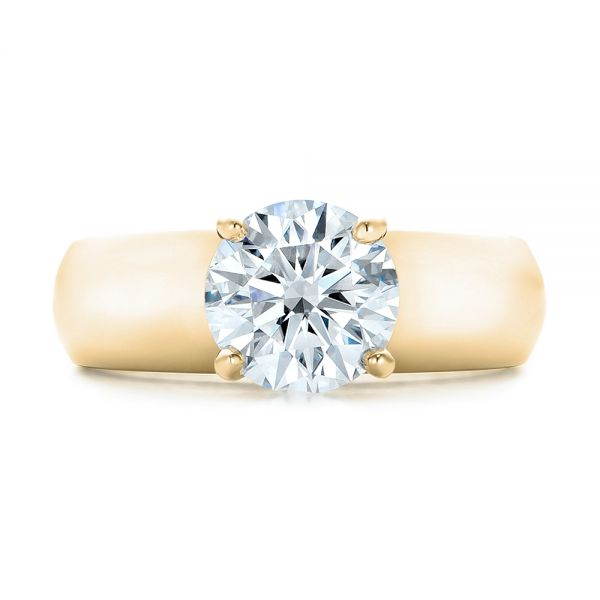 14K Yellow Gold Custom Solitaire Diamond Engagement Ring - Top View -  102030 - Thumbnail
