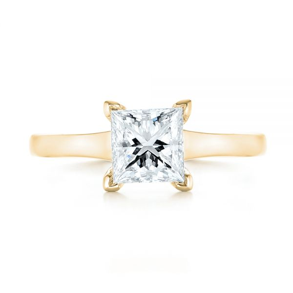 18k Yellow Gold 18k Yellow Gold Custom Solitaire Diamond Engagement Ring - Top View -