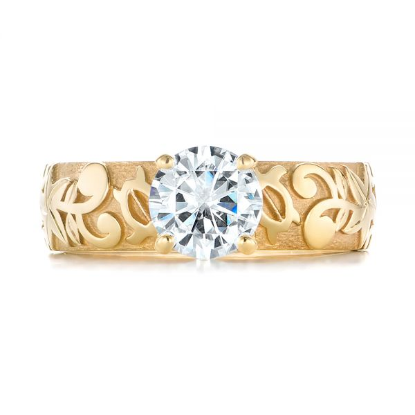 14k Yellow Gold Custom Solitaire Diamond Engagement Ring - Top View -