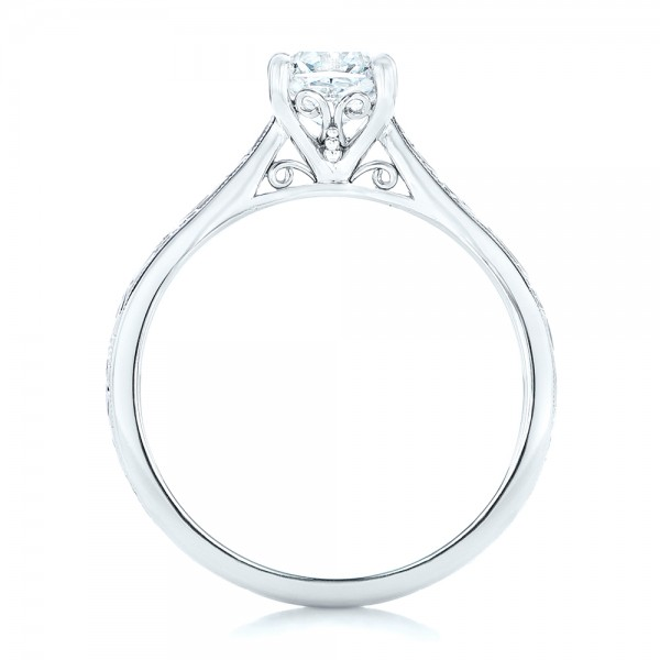 Solitaire Diamond Engagement Ring - Finger Through View