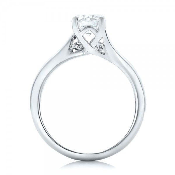 Custom Solitaire Diamond Engagement Ring - Finger Through View