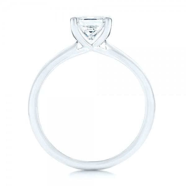 Custom Solitaire Diamond Engagement Ring - Finger Through View