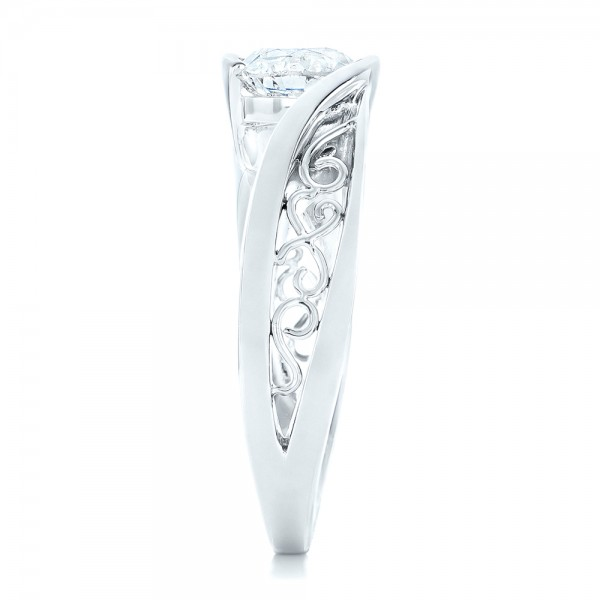 Custom Solitaire Diamond Engagement Ring - Side View
