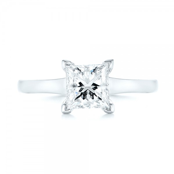 Custom Solitaire Diamond Engagement Ring - Top View