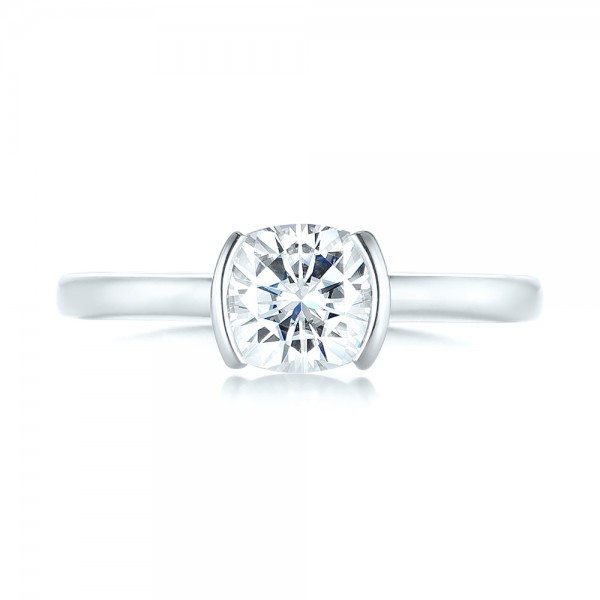 Custom Solitaire Moissanite Engagement Ring - Top View