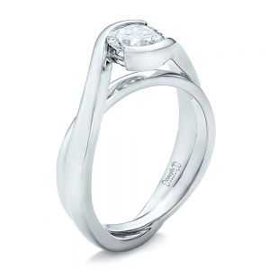 Custom Solitaire Diamond Interlocking Engagement Ring - Image