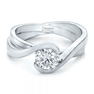 Custom Solitaire Diamond Interlocking Engagement Ring