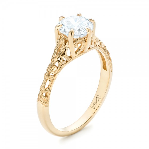 Solitaire Diamond and Yellow Gold Engagement Ring