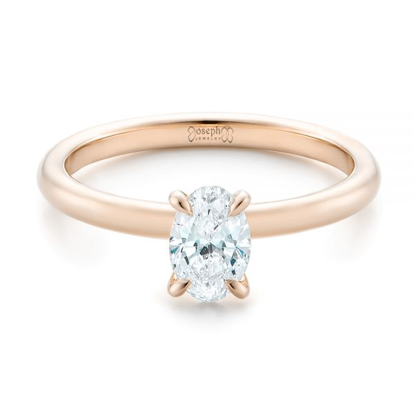 14k Rose Gold 14k Rose Gold Custom Solitaire Diamond Engagement Ring - Flat View -