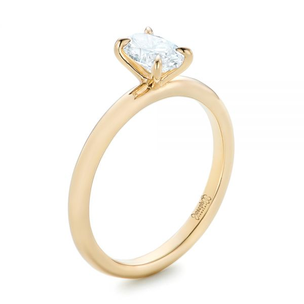 Custom Solitaire Diamond and Yellow Gold Engagement Ring - Image